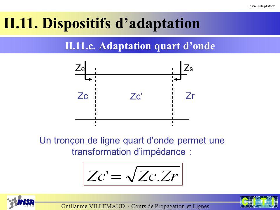 Guillaume VILLEMAUD - Cours de Propagation et Lignes 239- Adaptation II.11. Dispositifs d'adaptation Un tronçon de ligne quart d'onde permet une trans