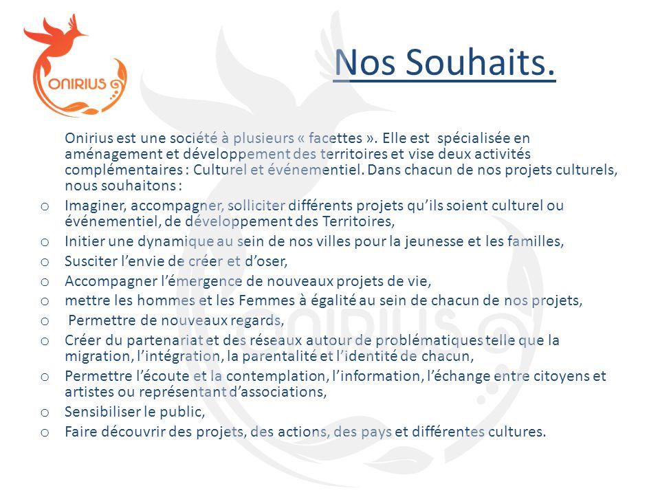 Nos Souhaits. Onirius est une société à plusieurs « facettes ». Elle est spécialisée en aménagement et développement des territoires et vise deux acti