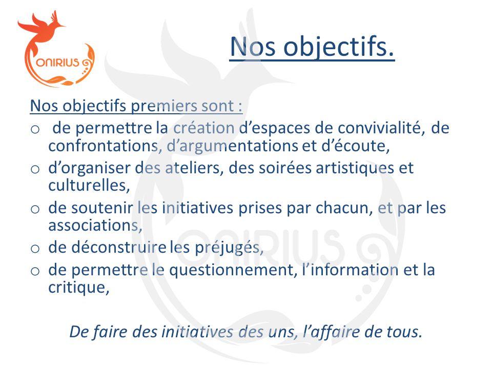 Nos objectifs. Nos objectifs premiers sont : o de permettre la création d'espaces de convivialité, de confrontations, d'argumentations et d'écoute, o