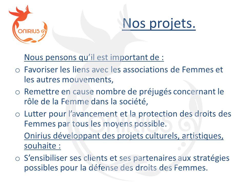 Nos projets. Nous pensons qu'il est important de : o Favoriser les liens avec les associations de Femmes et les autres mouvements, o Remettre en cause
