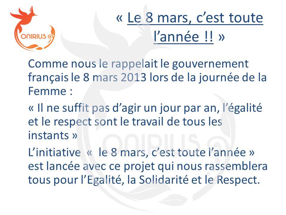 « Le 8 mars, c'est toute l'année !! » Comme nous le rappelait le gouvernement français le 8 mars 2013 lors de la journée de la Femme : « Il ne suffit