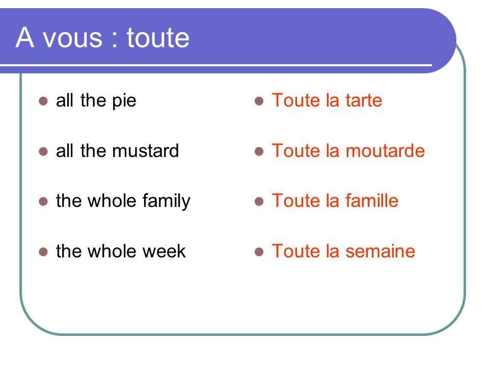 A vous : toute  all the pie  all the mustard  the whole family  the whole week  Toute la tarte  Toute la moutarde  Toute la famille  Toute la