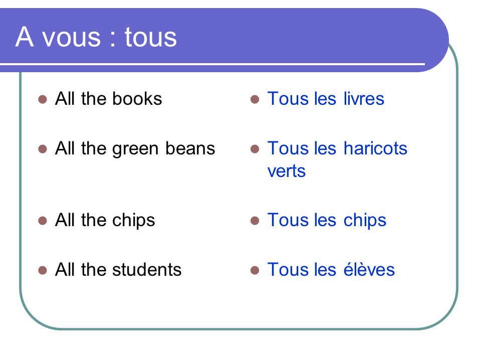 A vous : tous  All the books  All the green beans  All the chips  All the students  Tous les livres  Tous les haricots verts  Tous les chips 