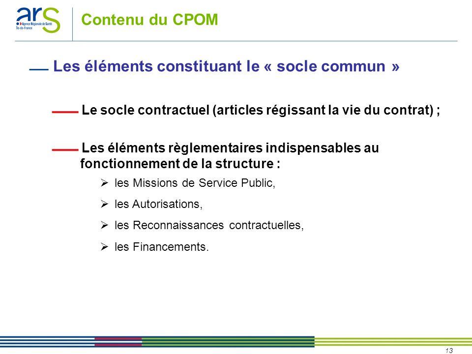 13 Contenu du CPOM Les éléments constituant le « socle commun » Le socle contractuel (articles régissant la vie du contrat) ; Les éléments règlementaires indispensables au fonctionnement de la structure :  les Missions de Service Public,  les Autorisations,  les Reconnaissances contractuelles,  les Financements.