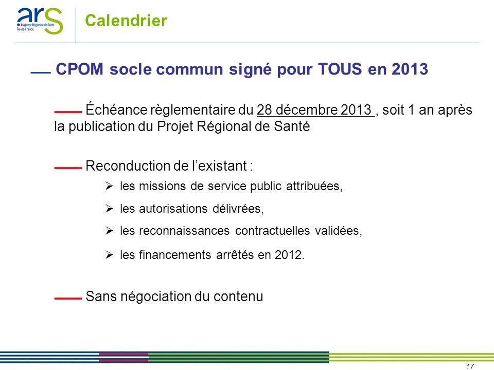 17 Calendrier CPOM socle commun signé pour TOUS en 2013 Échéance règlementaire du 28 décembre 2013, soit 1 an après la publication du Projet Régional de Santé Reconduction de l'existant :  les missions de service public attribuées,  les autorisations délivrées,  les reconnaissances contractuelles validées,  les financements arrêtés en 2012.