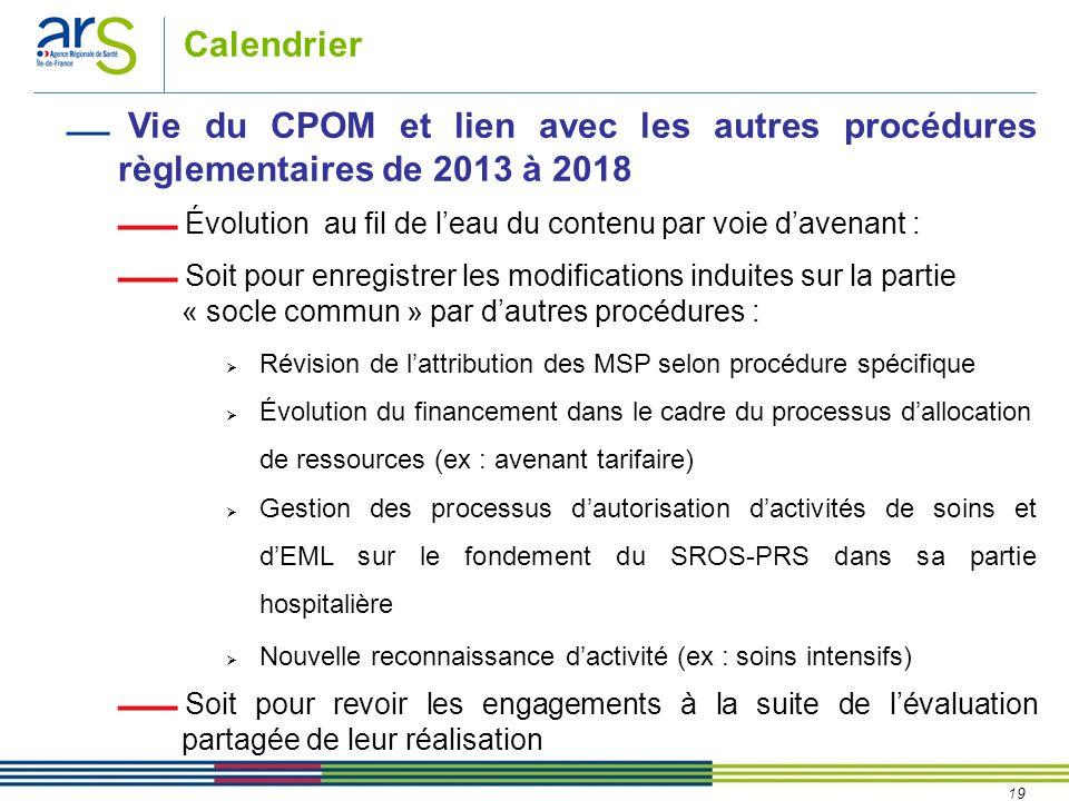 19 Calendrier Vie du CPOM et lien avec les autres procédures règlementaires de 2013 à 2018 Évolution au fil de l'eau du contenu par voie d'avenant : S