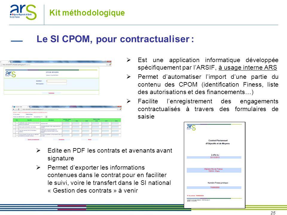 25 Kit méthodologique Le SI CPOM, pour contractualiser :  Edite en PDF les contrats et avenants avant signature  Permet d'exporter les informations contenues dans le contrat pour en faciliter le suivi, voire le transfert dans le SI national « Gestion des contrats » à venir  Est une application informatique développée spécifiquement par l'ARSIF, à usage interne ARS  Permet d'automatiser l'import d'une partie du contenu des CPOM (identification Finess, liste des autorisations et des financements…)  Facilite l'enregistrement des engagements contractualisés à travers des formulaires de saisie