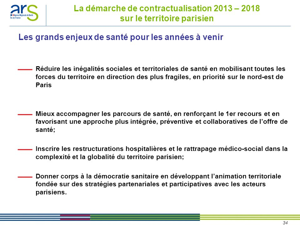 34 La démarche de contractualisation 2013 – 2018 sur le territoire parisien Réduire les inégalités sociales et territoriales de santé en mobilisant to