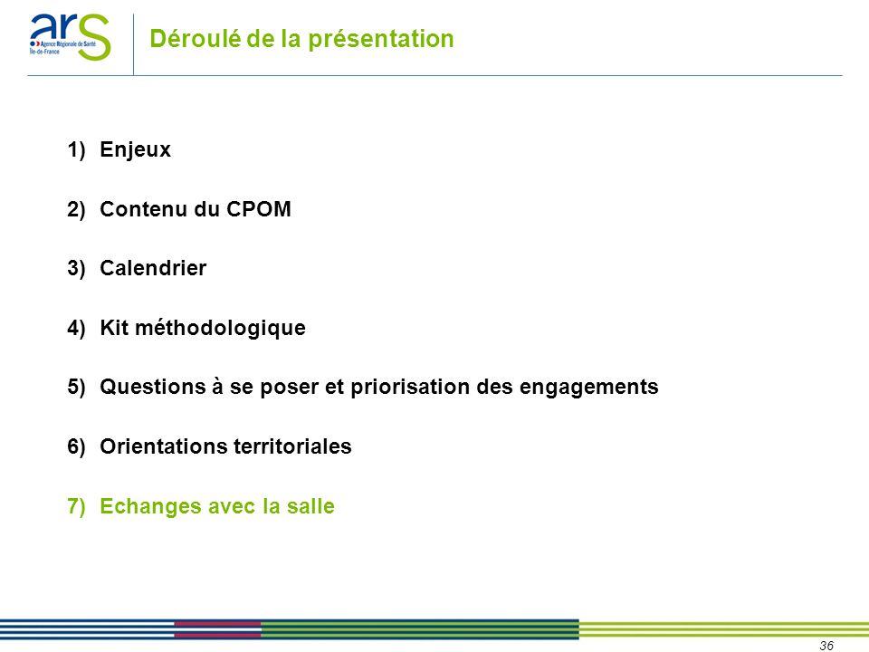 36 Déroulé de la présentation 1)Enjeux 2)Contenu du CPOM 3)Calendrier 4)Kit méthodologique 5)Questions à se poser et priorisation des engagements 6)Or
