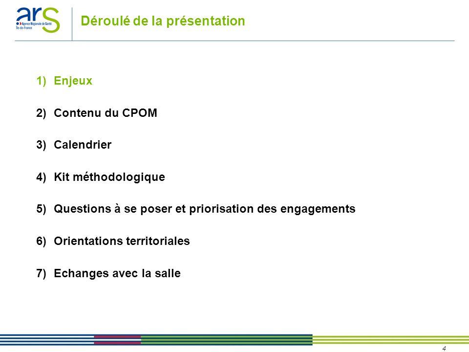 4 Déroulé de la présentation 1)Enjeux 2)Contenu du CPOM 3)Calendrier 4)Kit méthodologique 5)Questions à se poser et priorisation des engagements 6)Ori