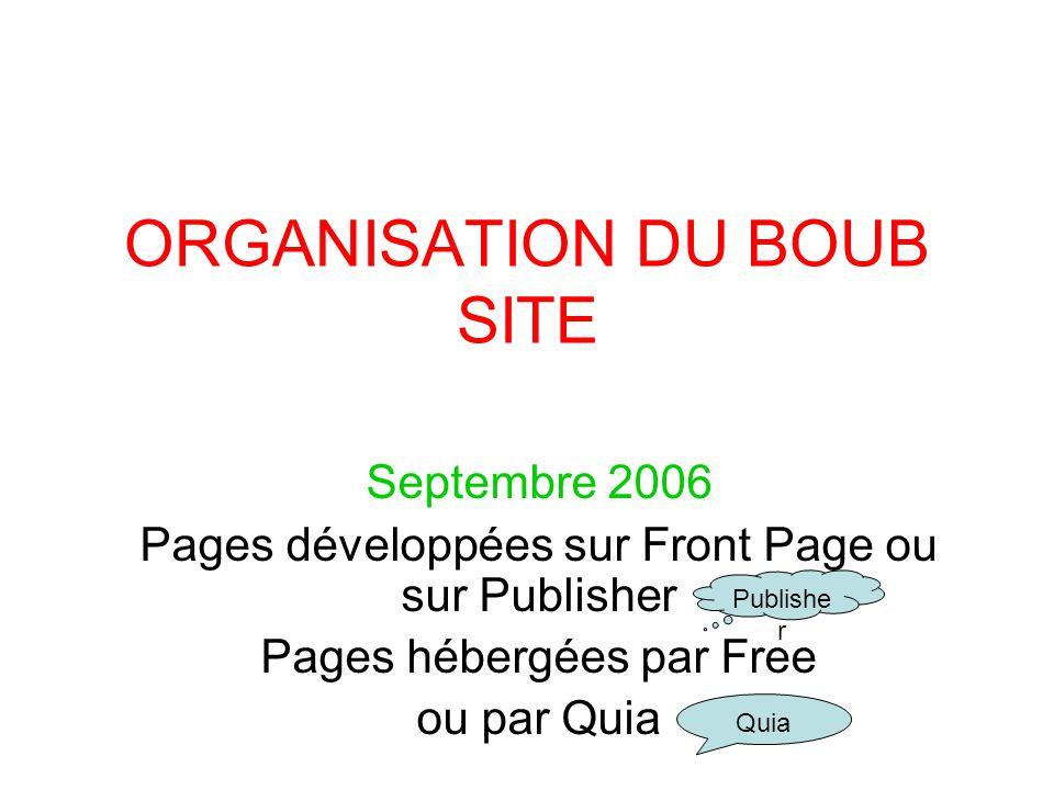 ORGANISATION DU BOUB SITE Septembre 2006 Pages développées sur Front Page ou sur Publisher Pages hébergées par Free ou par Quia Quia Publishe r