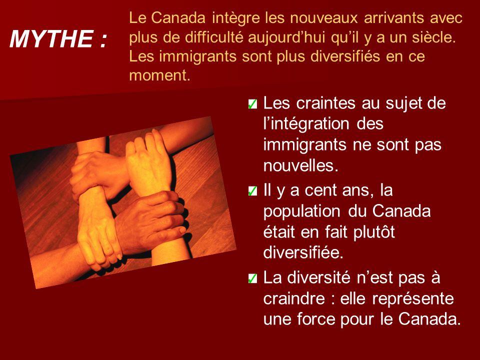 Le Canada intègre les nouveaux arrivants avec plus de difficulté aujourd'hui qu'il y a un siècle. Les immigrants sont plus diversifiés en ce moment. L