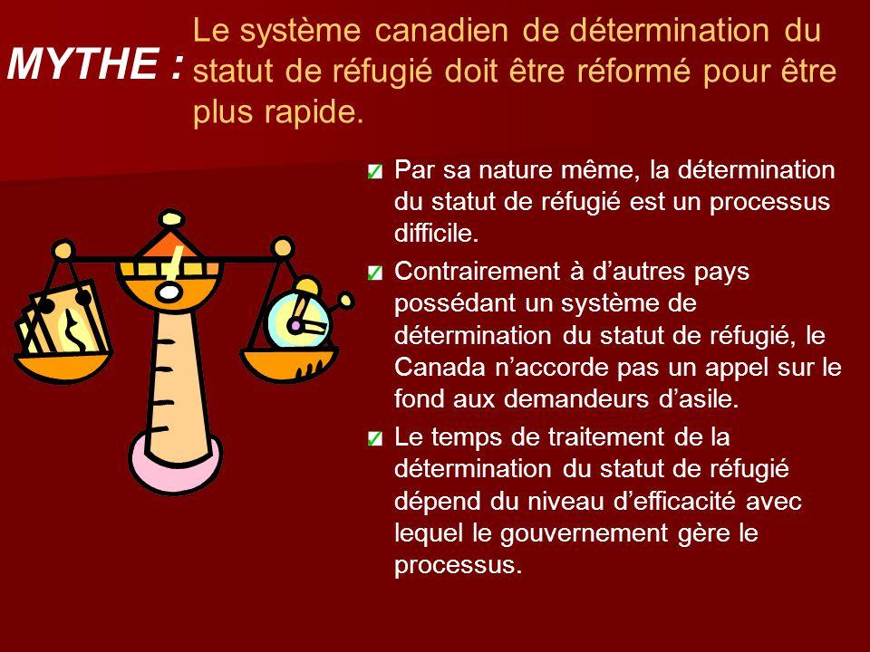 Le système canadien de détermination du statut de réfugié doit être réformé pour être plus rapide. Par sa nature même, la détermination du statut de r