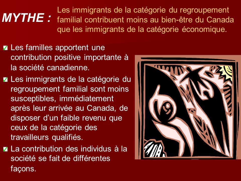 Les immigrants de la catégorie du regroupement familial contribuent moins au bien-être du Canada que les immigrants de la catégorie économique. Les fa