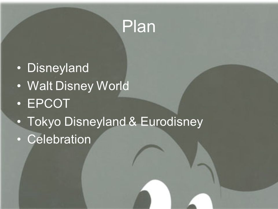 Plan •Disneyland •Walt Disney World •EPCOT •Tokyo Disneyland & Eurodisney •Celebration