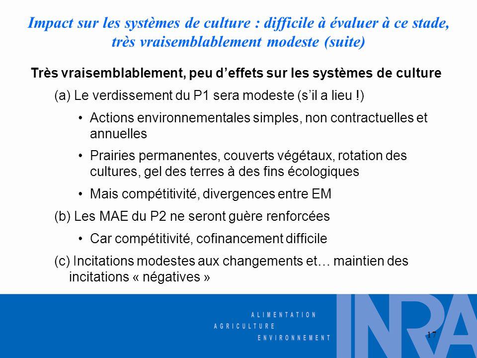 17 Impact sur les systèmes de culture : difficile à évaluer à ce stade, très vraisemblablement modeste (suite) Très vraisemblablement, peu d'effets su
