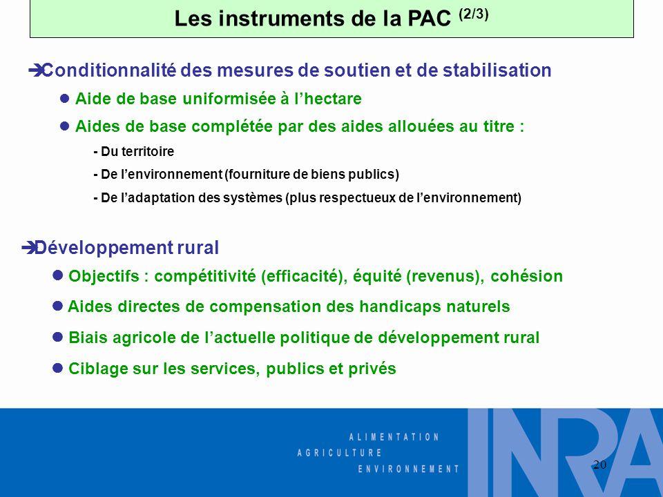 20 Les instruments de la PAC (2/3)  Aide de base uniformisée à l'hectare  Aides de base complétée par des aides allouées au titre : - Du territoire