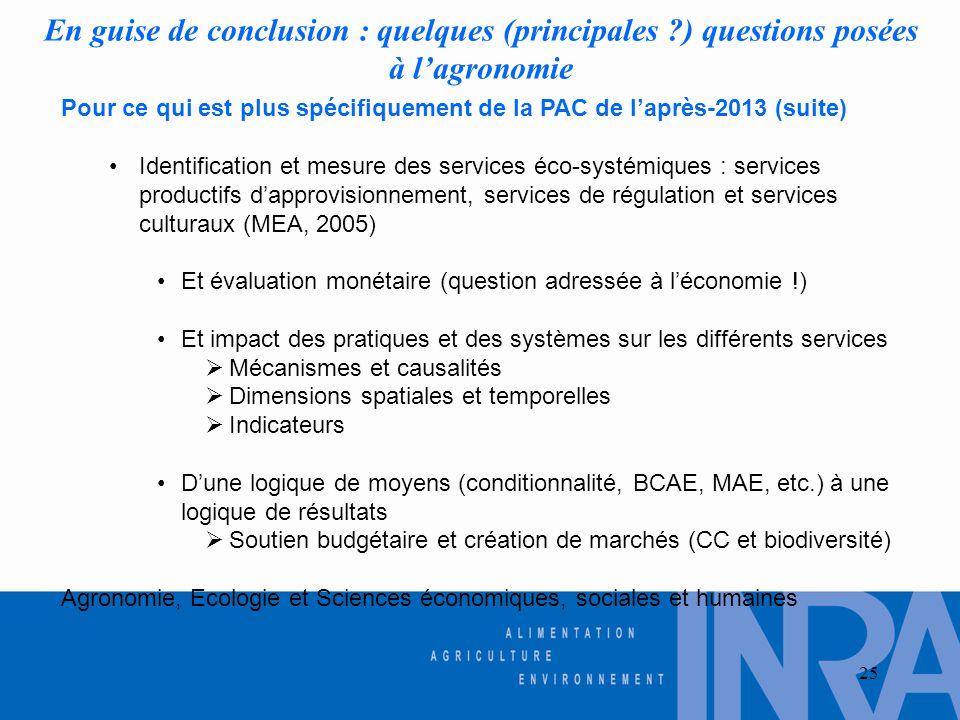 25 En guise de conclusion : quelques (principales ?) questions posées à l'agronomie Pour ce qui est plus spécifiquement de la PAC de l'après-2013 (sui