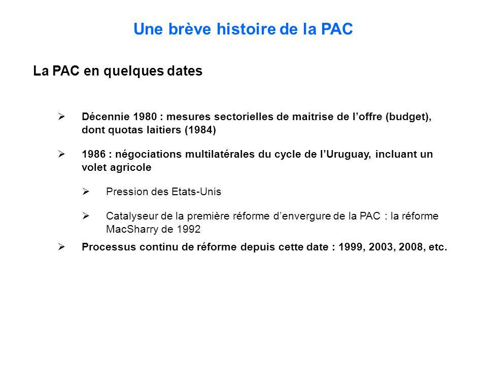 Une brève histoire de la PAC La PAC en quelques dates  Décennie 1980 : mesures sectorielles de maitrise de l'offre (budget), dont quotas laitiers (1984)  1986 : négociations multilatérales du cycle de l'Uruguay, incluant un volet agricole  Pression des Etats-Unis  Catalyseur de la première réforme d'envergure de la PAC : la réforme MacSharry de 1992  Processus continu de réforme depuis cette date : 1999, 2003, 2008, etc.