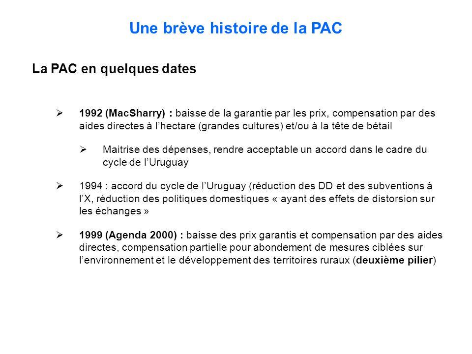 Une brève histoire de la PAC La PAC en quelques dates  1992 (MacSharry) : baisse de la garantie par les prix, compensation par des aides directes à l'hectare (grandes cultures) et/ou à la tête de bétail  Maitrise des dépenses, rendre acceptable un accord dans le cadre du cycle de l'Uruguay  1994 : accord du cycle de l'Uruguay (réduction des DD et des subventions à l'X, réduction des politiques domestiques « ayant des effets de distorsion sur les échanges »  1999 (Agenda 2000) : baisse des prix garantis et compensation par des aides directes, compensation partielle pour abondement de mesures ciblées sur l'environnement et le développement des territoires ruraux (deuxième pilier)
