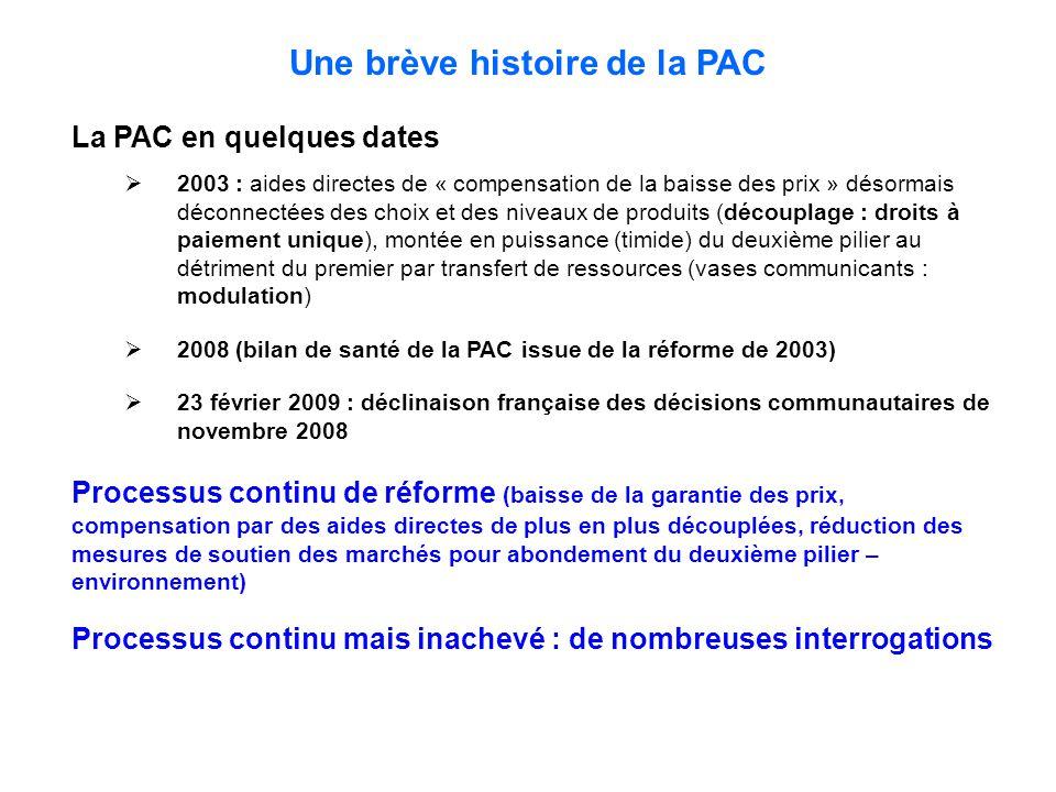 Une brève histoire de la PAC La PAC en quelques dates  2003 : aides directes de « compensation de la baisse des prix » désormais déconnectées des choix et des niveaux de produits (découplage : droits à paiement unique), montée en puissance (timide) du deuxième pilier au détriment du premier par transfert de ressources (vases communicants : modulation)  2008 (bilan de santé de la PAC issue de la réforme de 2003)  23 février 2009 : déclinaison française des décisions communautaires de novembre 2008 Processus continu de réforme (baisse de la garantie des prix, compensation par des aides directes de plus en plus découplées, réduction des mesures de soutien des marchés pour abondement du deuxième pilier – environnement) Processus continu mais inachevé : de nombreuses interrogations