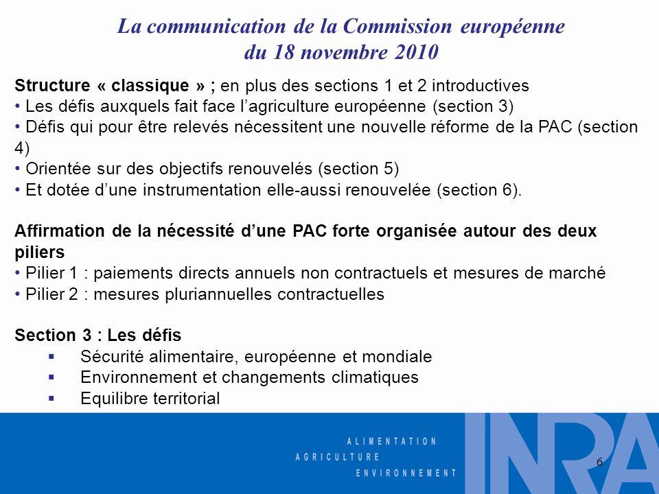 La communication de la Commission européenne du 18 novembre 2010 Structure « classique » ; en plus des sections 1 et 2 introductives • Les défis auxquels fait face l'agriculture européenne (section 3) • Défis qui pour être relevés nécessitent une nouvelle réforme de la PAC (section 4) • Orientée sur des objectifs renouvelés (section 5) • Et dotée d'une instrumentation elle-aussi renouvelée (section 6).
