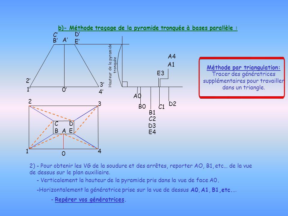 b)- Méthode traçage de la pyramide tronquée à bases parallèle : 2) - Pour obtenir les VG de la soudure et des arrêtes, reporter AO, B1, etc… de la vue