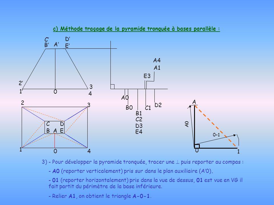 c) Méthode traçage de la pyramide tronquée à bases parallèle : 3) - Pour développer la pyramide tronquée, tracer une  puis reporter au compas : - A0