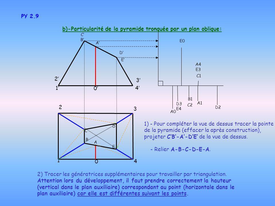 b)-Particularité de la pyramide tronquée par un plan oblique: PY 2.9 2) Tracer les génératrices supplémentaires pour travailler par triangulation. Att