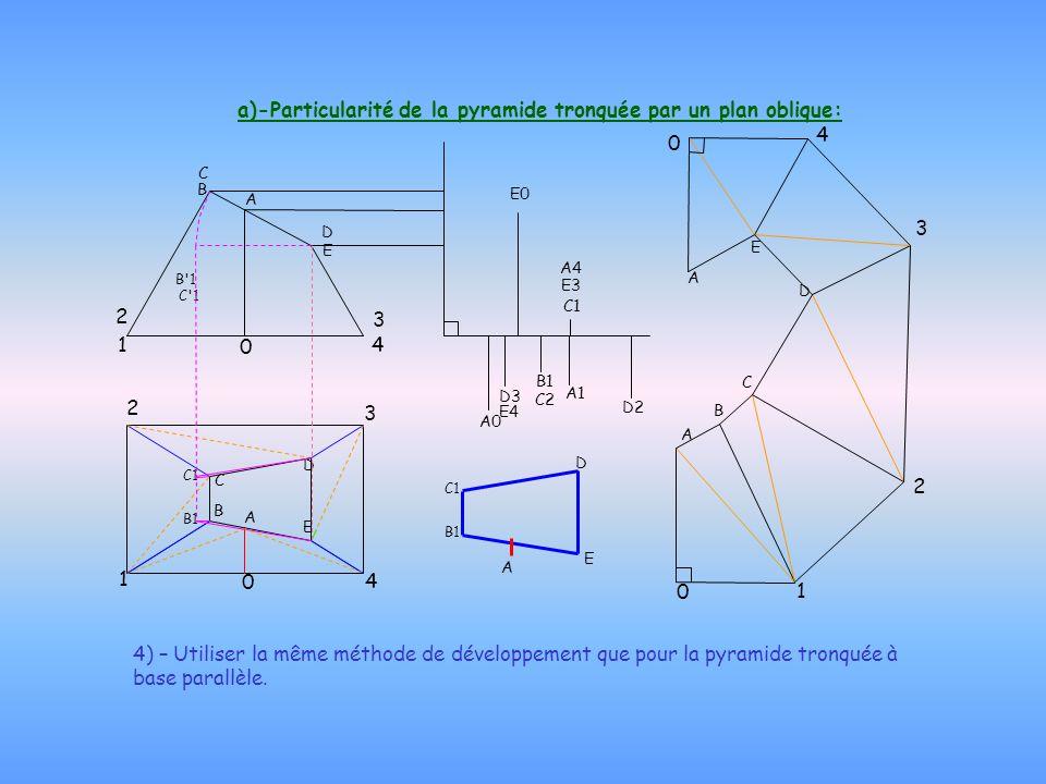 a)-Particularité de la pyramide tronquée par un plan oblique: 4) – Utiliser la même méthode de développement que pour la pyramide tronquée à base para