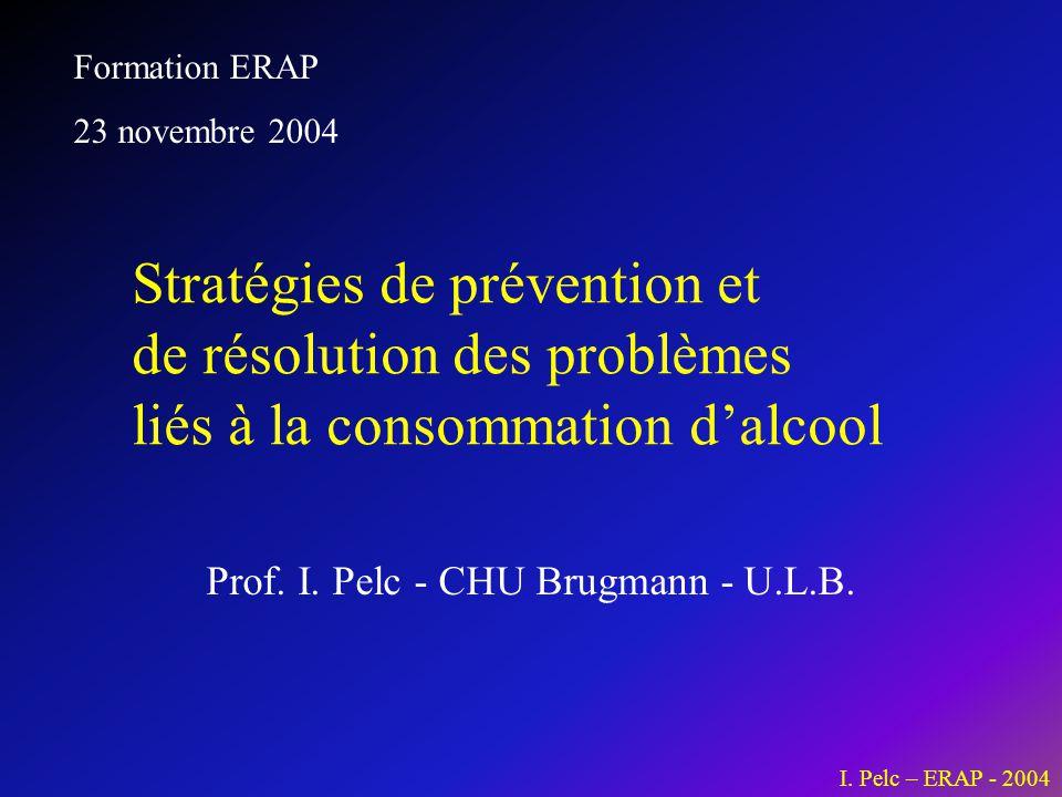 I. Pelc – ERAP - 2004 Prof. I. Pelc - CHU Brugmann - U.L.B. Stratégies de prévention et de résolution des problèmes liés à la consommation d'alcool Fo