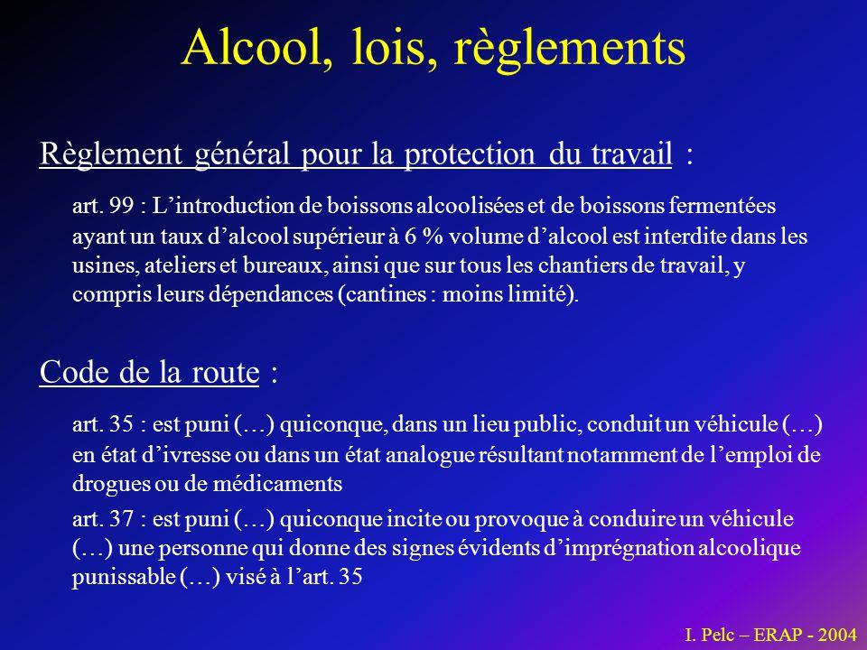 Alcool, lois, règlements Règlement général pour la protection du travail : art. 99 : L'introduction de boissons alcoolisées et de boissons fermentées
