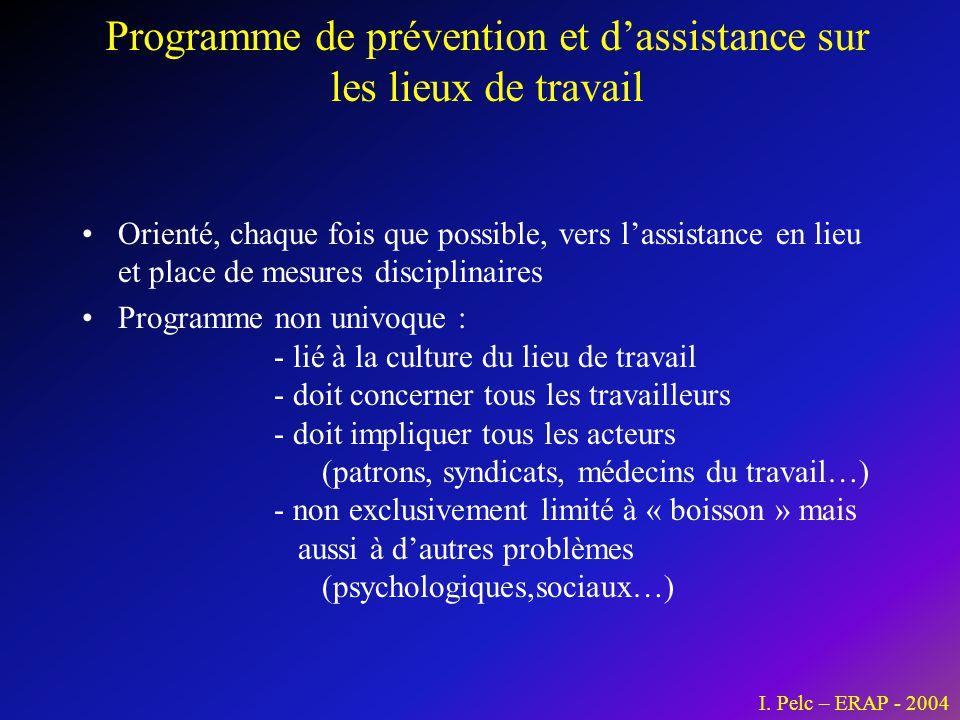 Programme de prévention et d'assistance sur les lieux de travail •Orienté, chaque fois que possible, vers l'assistance en lieu et place de mesures dis