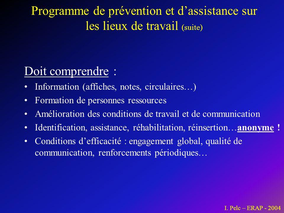 Programme de prévention et d'assistance sur les lieux de travail (suite) Doit comprendre : •Information (affiches, notes, circulaires…) •Formation de