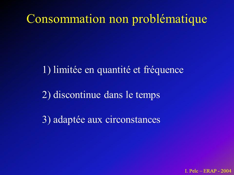 Consommation non problématique I. Pelc – ERAP - 2004 1) limitée en quantité et fréquence 2) discontinue dans le temps 3) adaptée aux circonstances