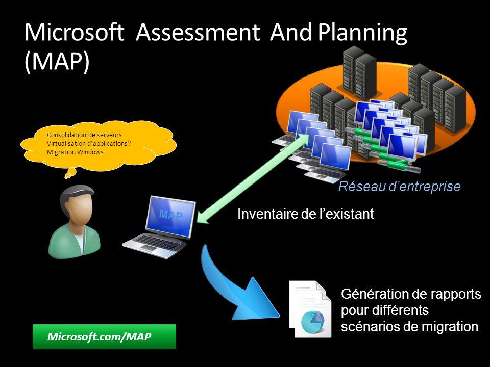 Réseau d'entreprise Microsoft Assessment And Planning (MAP) Microsoft.com/MAP Génération de rapports pour différents scénarios de migration MAP Invent