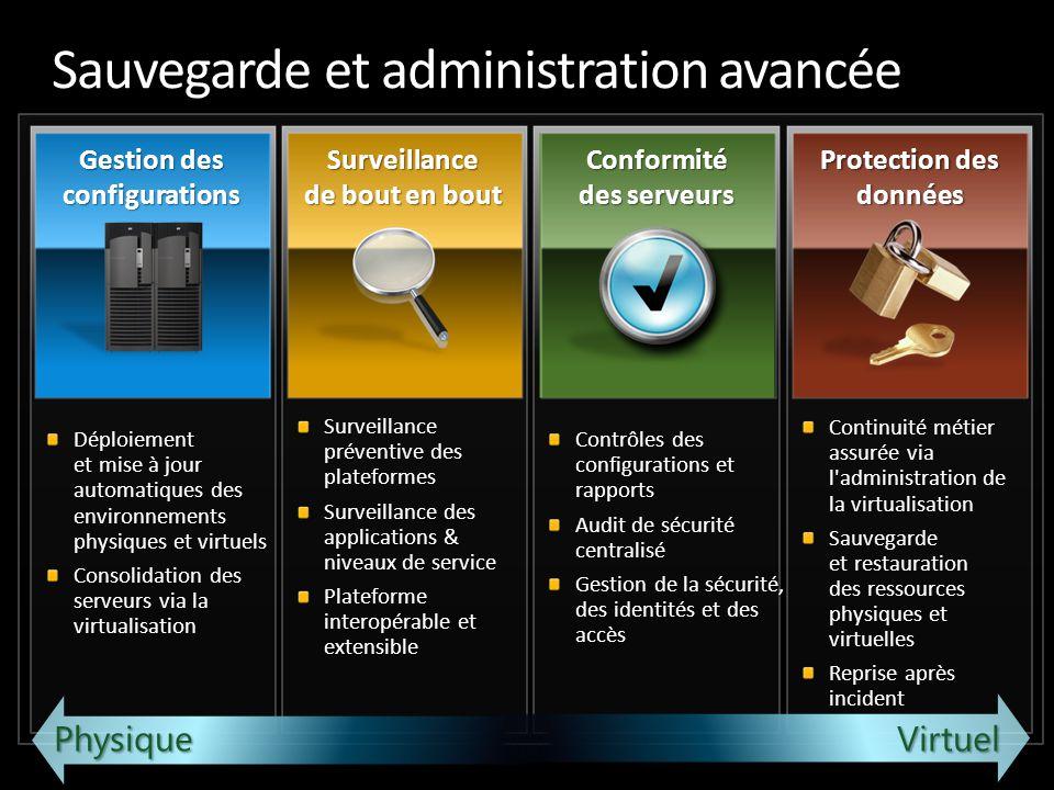Sauvegarde et administration avancée Déploiement et mise à jour automatiques des environnements physiques et virtuels Consolidation des serveurs via l
