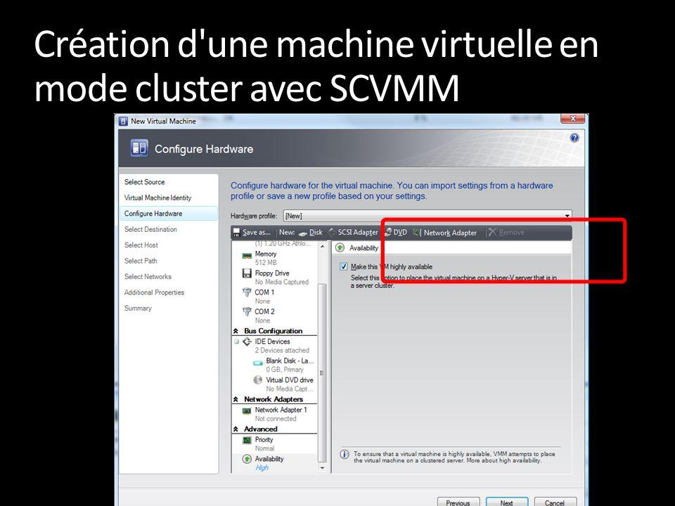Création d'une machine virtuelle en mode cluster avec SCVMM