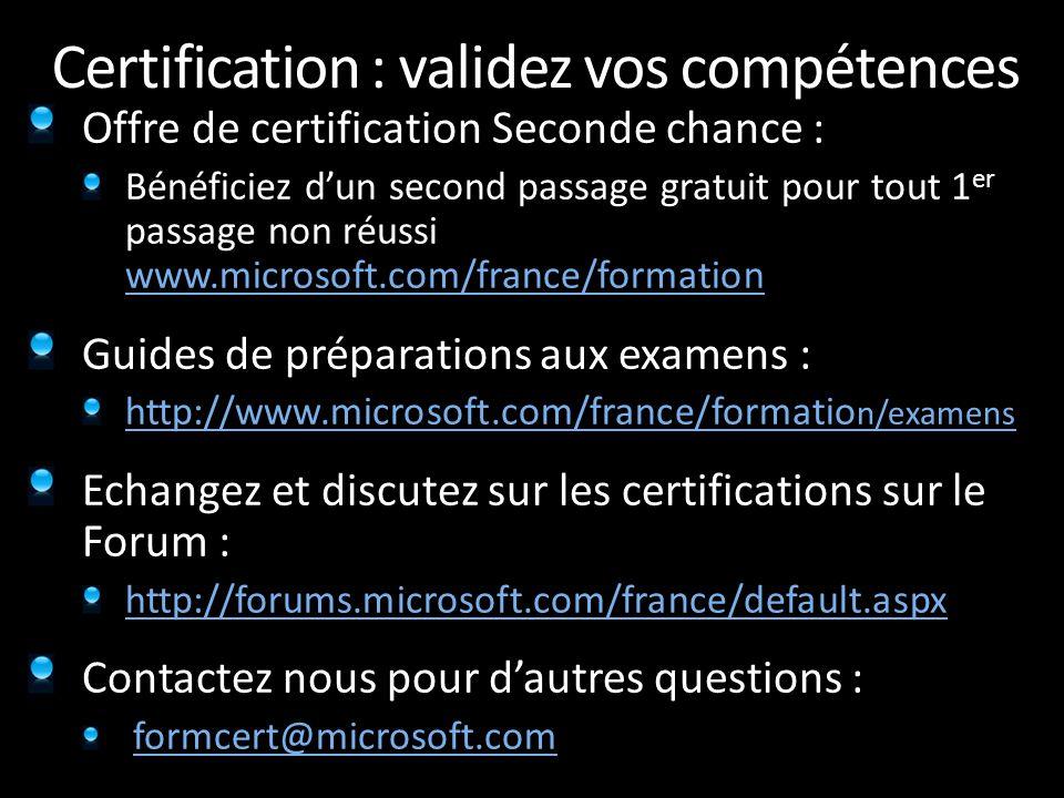 Certification : validez vos compétences Offre de certification Seconde chance : Bénéficiez d'un second passage gratuit pour tout 1 er passage non réus