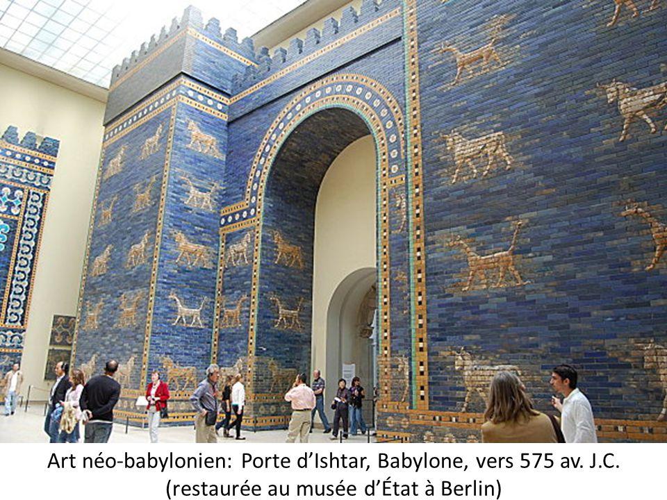 Art néo-babylonien: Porte d'Ishtar, Babylone, vers 575 av. J.C. (restaurée au musée d'État à Berlin)