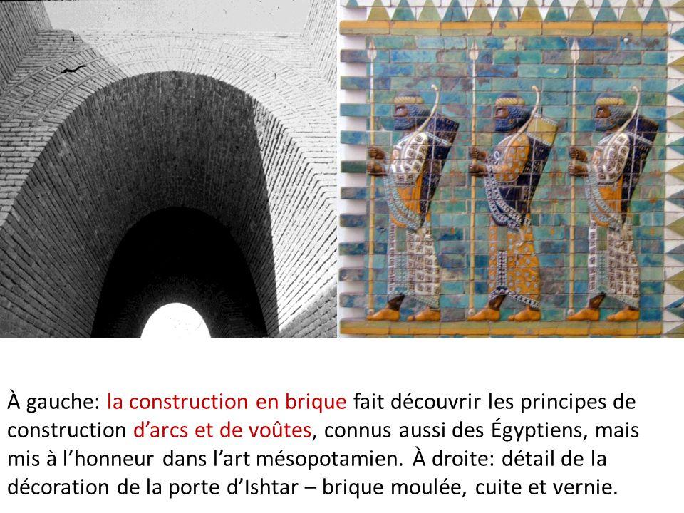 À gauche: la construction en brique fait découvrir les principes de construction d'arcs et de voûtes, connus aussi des Égyptiens, mais mis à l'honneur