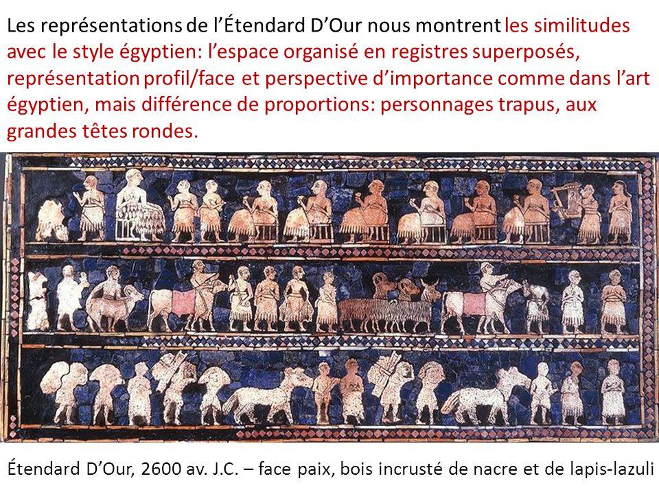 Les représentations de l'Étendard D'Our nous montrent les similitudes avec le style égyptien: l'espace organisé en registres superposés, représentatio