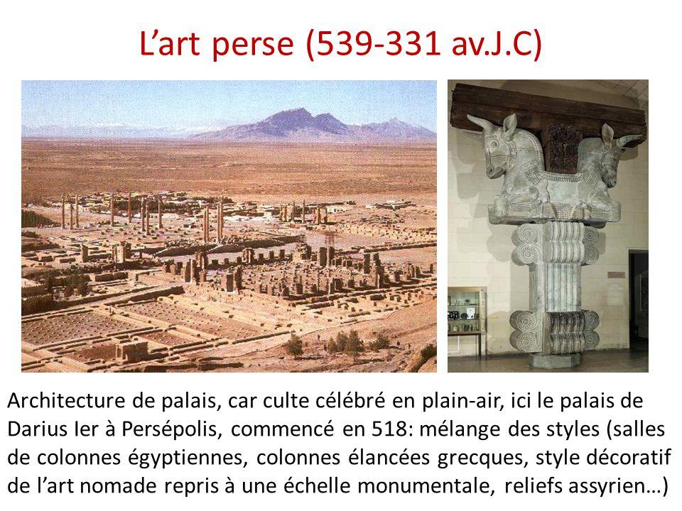 L'art perse (539-331 av.J.C) Architecture de palais, car culte célébré en plain-air, ici le palais de Darius Ier à Persépolis, commencé en 518: mélang