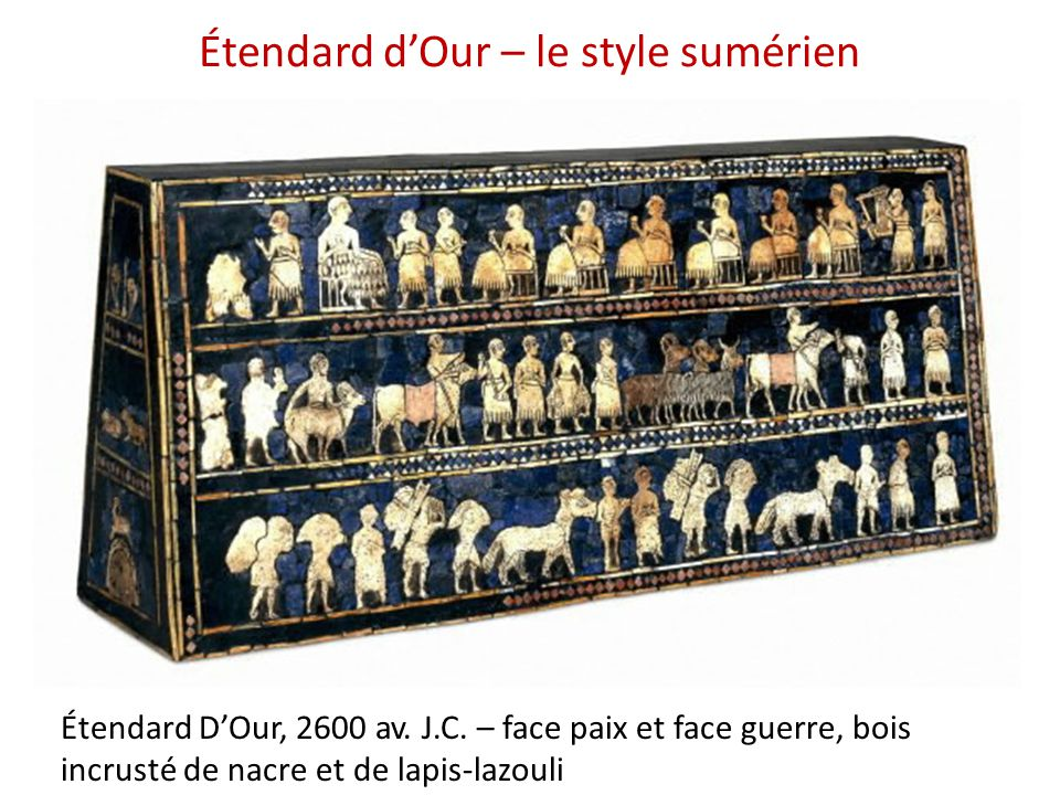 Étendard d'Our – le style sumérien Étendard D'Our, 2600 av. J.C. – face paix et face guerre, bois incrusté de nacre et de lapis-lazouli