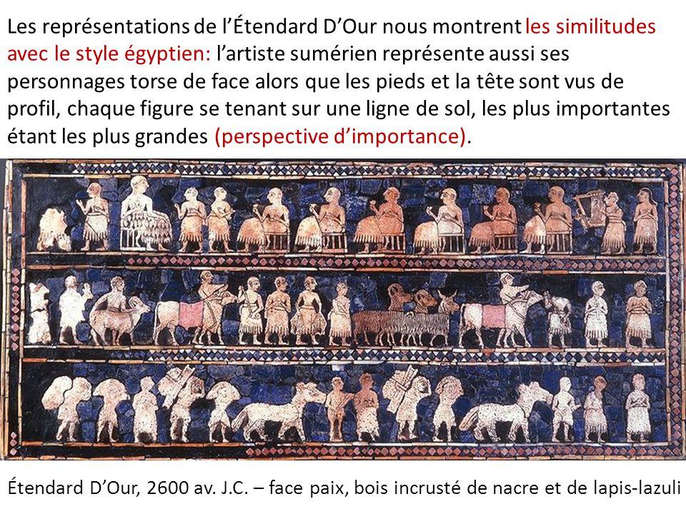 Le registre inférieur de la face guerre nous montre les phases successives d'une action: le char part à l'assaut, les chevaux prennent leur élan, les chevaux galoppent piétinant les ennemies… Étendard D'Our, 2600 av.