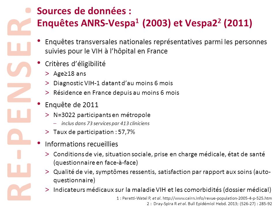 Sources de données : Enquêtes ANRS-Vespa 1 (2003) et Vespa2 2 (2011) • Enquêtes transversales nationales représentatives parmi les personnes suivies p