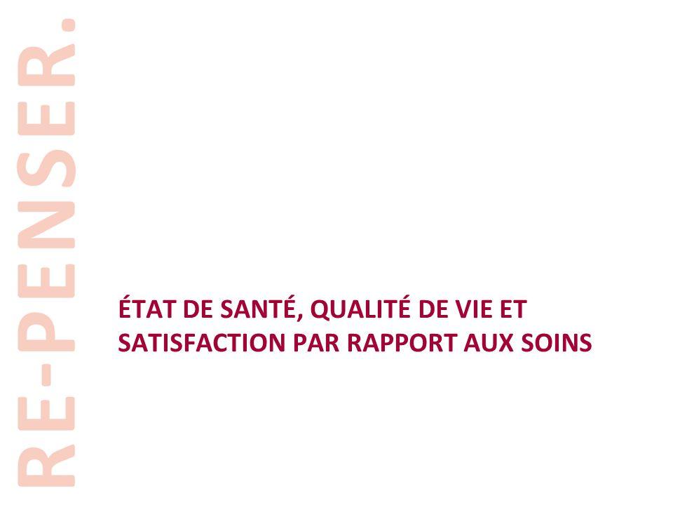 ÉTAT DE SANTÉ, QUALITÉ DE VIE ET SATISFACTION PAR RAPPORT AUX SOINS