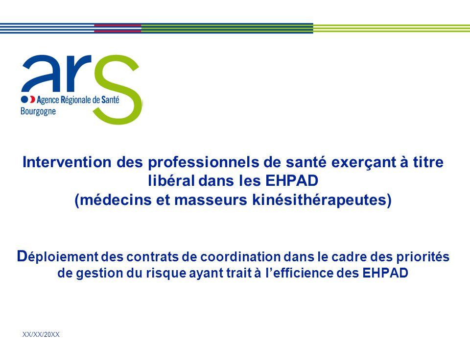 XX/XX/20XX Intervention des professionnels de santé exerçant à titre libéral dans les EHPAD (médecins et masseurs kinésithérapeutes) D éploiement des contrats de coordination dans le cadre des priorités de gestion du risque ayant trait à l'efficience des EHPAD