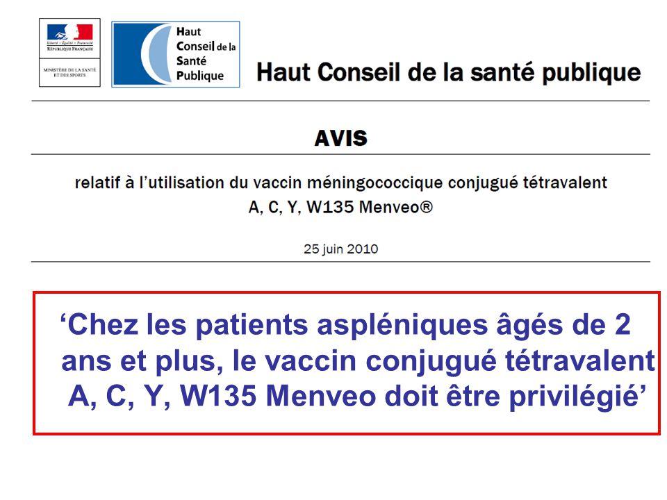 'Chez les patients aspléniques âgés de 2 ans et plus, le vaccin conjugué tétravalent A, C, Y, W135 Menveo doit être privilégié'