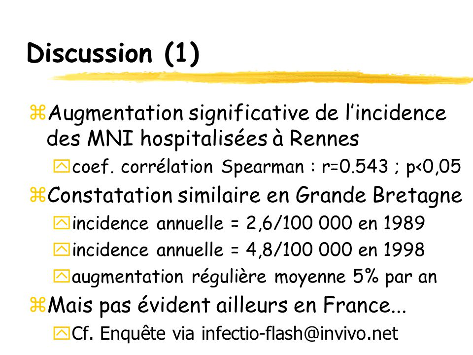 Discussion (1) zAugmentation significative de l'incidence des MNI hospitalisées à Rennes ycoef. corrélation Spearman : r=0.543 ; p<0,05 zConstatation
